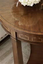 Cathedral Cherry Veneer and Greek Key Maple Inlay on Lamp Table