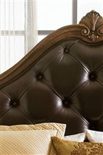 Tufted Leather and Sea Scroll Arches on Upholstered Headboard