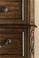 Intricate Overlays and Short-grain, Mitered Walnut Quarters Around Drawers