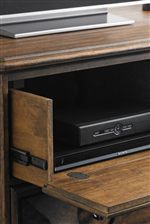 Drop Down Drawer and Built-in Power Strip on Media Chest and Dresser