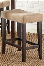 Tan Tufted Cushion Stool on Tapered Legs with Stretchers