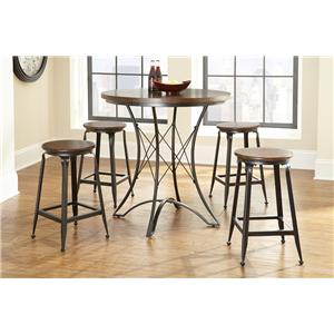 Steve Silver Adele Counter Stool with Wood Seat and Metal Base