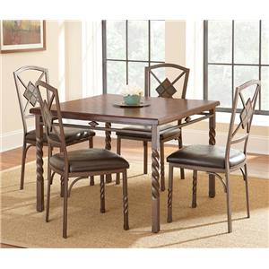 Morris Home Furnishings Annabella Square Dining Table with Spun Metal Legs