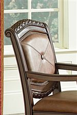 Leather-Like Upholstered Backrests with Button Accent