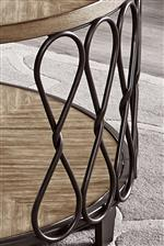 Iron supports feature a knotted rope twist shape for a textural, Vintage look