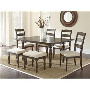 Morris Home Furnishings Bexley 5 Piece Dining Set with 2 8