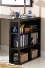 Open Shelves Provide Maximum Storage on Writing Desk