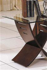X-Shaped Base with Beveled Glass Top