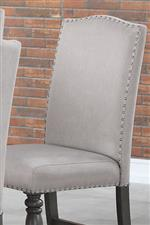Seating Comes in Taupe Upholstery with Silver-Color Nailheads