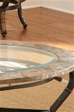 Round Glass Table Tops with Marble Border