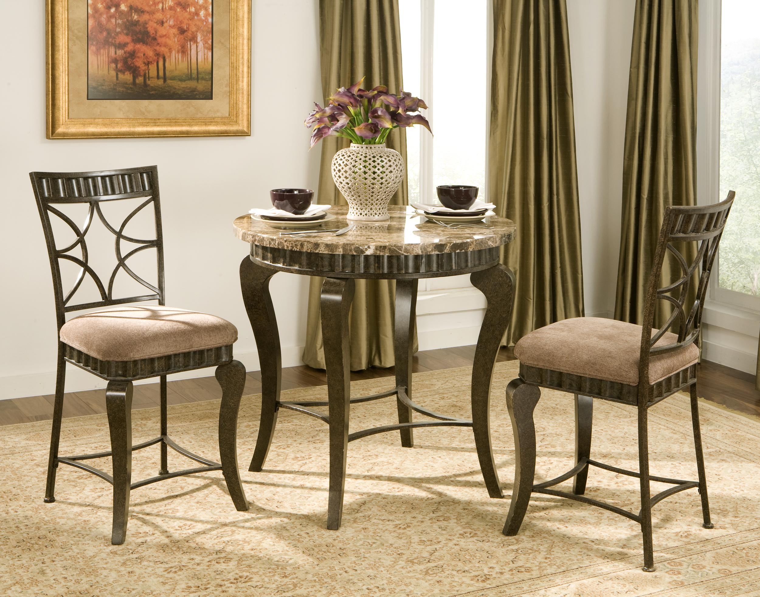 Steve Silver Hamlyn 5 Piece Round Faux Marble Top Metal Dining Table Set | Walker\u0027s Furniture | Dining 5 Piece Set Spokane Kennewick Tri-Cities ... & Steve Silver Hamlyn 5 Piece Round Faux Marble Top Metal Dining Table ...