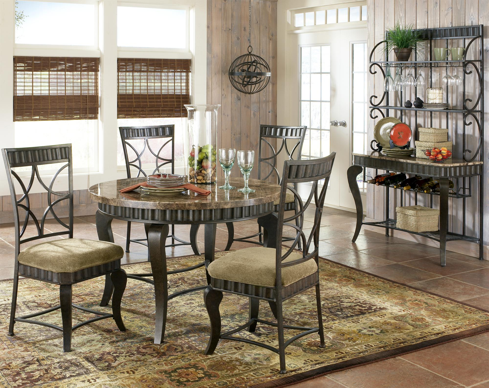 Steve Silver Hamlyn 5 Piece Round Faux Marble Top Metal Dining Table Set | A1 Furniture u0026 Mattress | Dining 5 Piece Set & Steve Silver Hamlyn 5 Piece Round Faux Marble Top Metal Dining Table ...