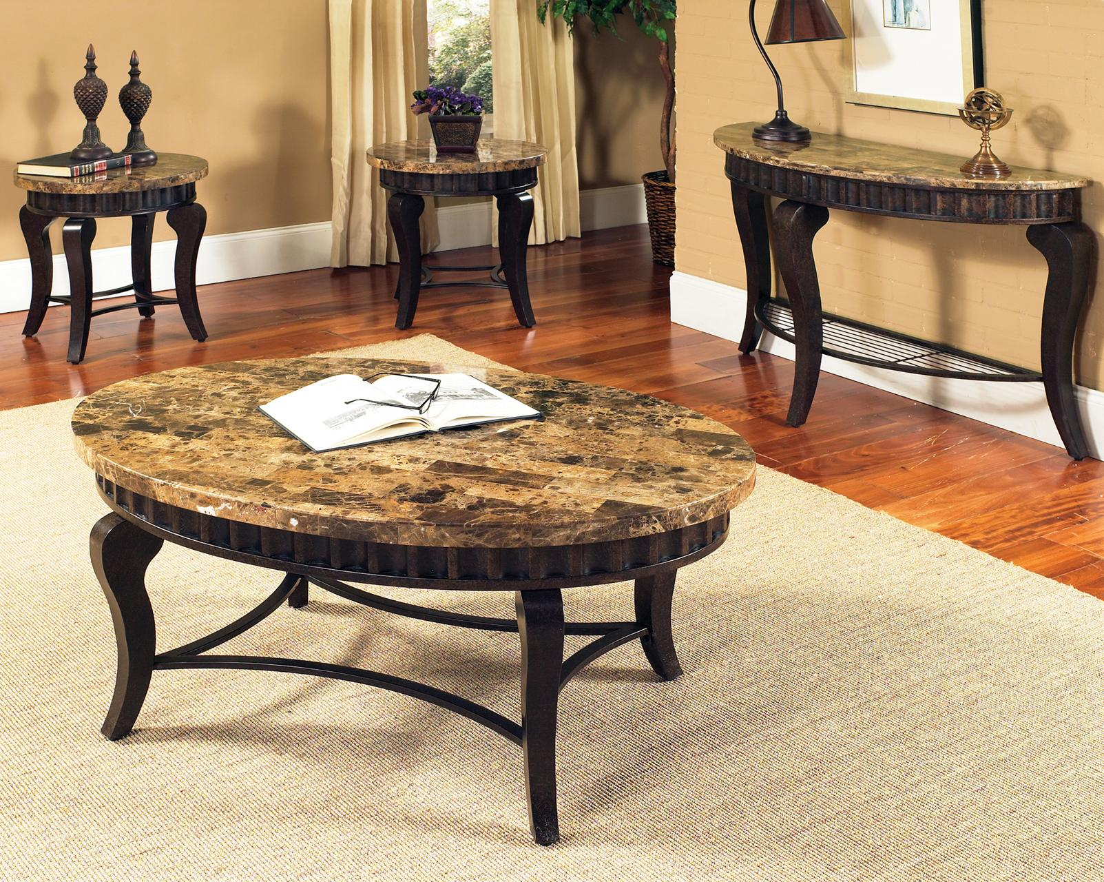 Steve Silver Hamlyn Round Faux Marble Top Metal Dining Table