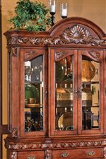 Ornate Shell Motif, Wood Trim, & Fluted Pilasters on Hutch