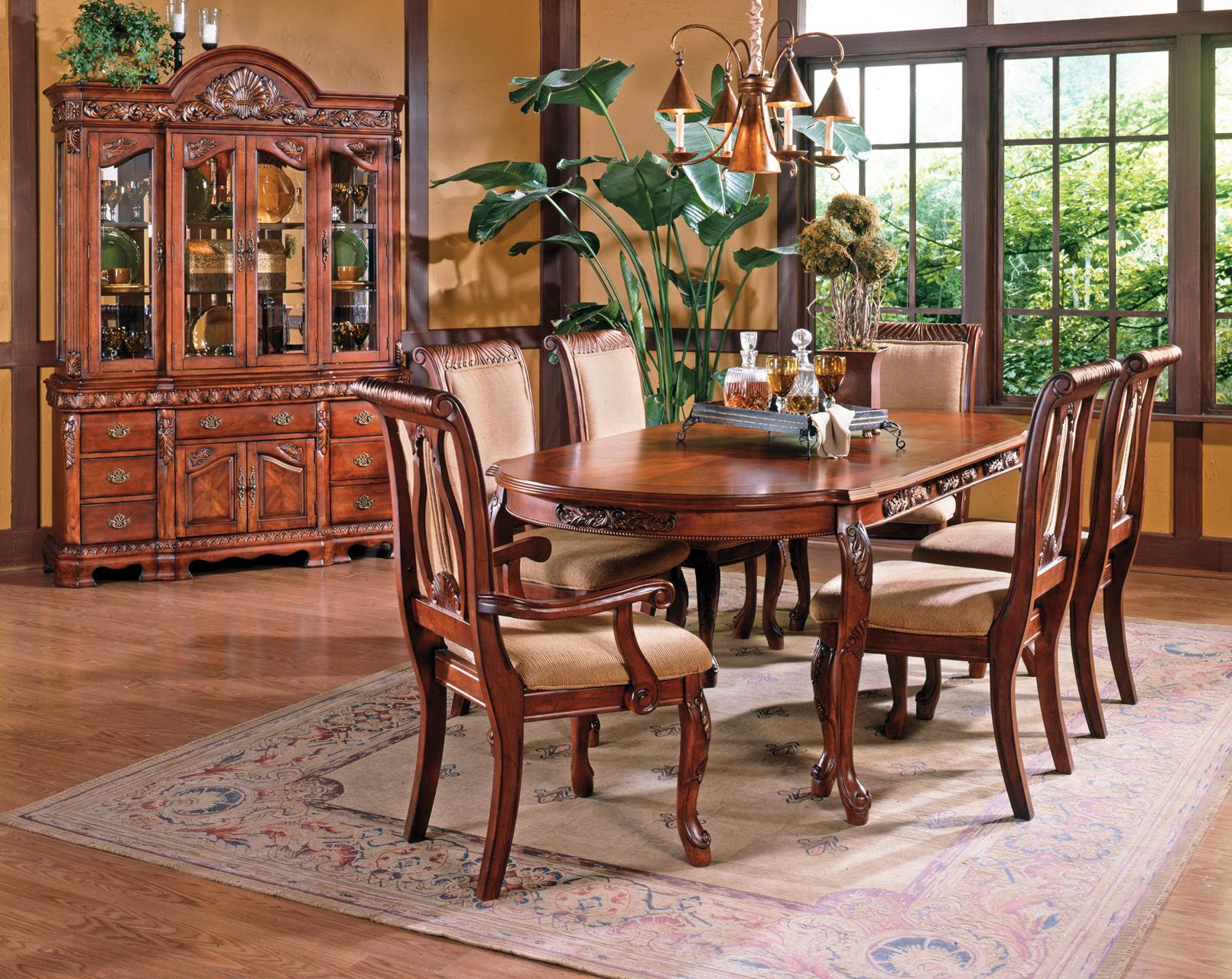 Steve Silver Harmony 7-Piece Traditional Oval Dining Table and ...