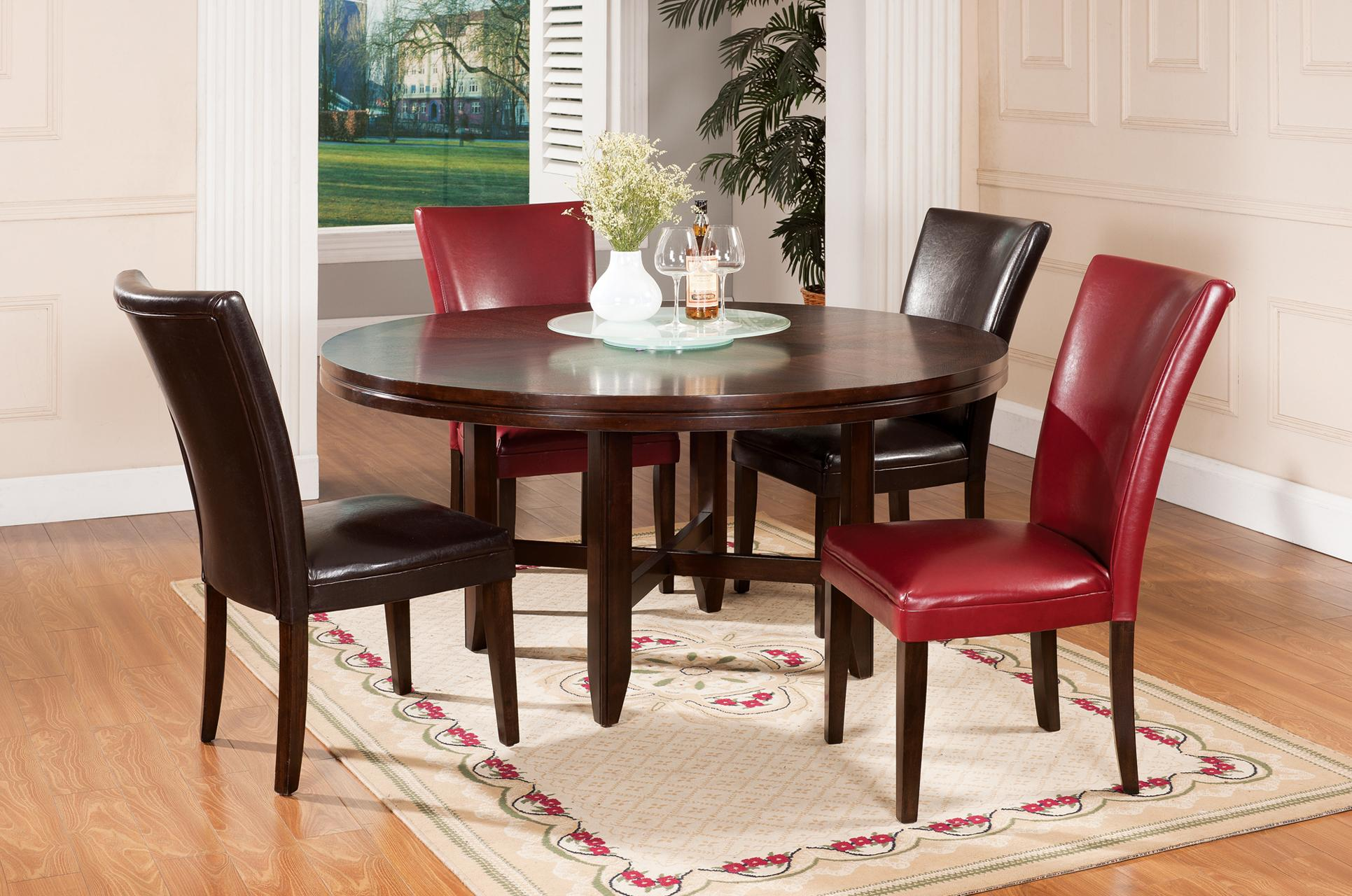 Steve Silver Hartford 72 Round Contemporary Dining Table With Lazy Susan
