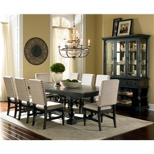 Steve Silver Leona Cottage Rectangular Antique Black Dining Table with 18