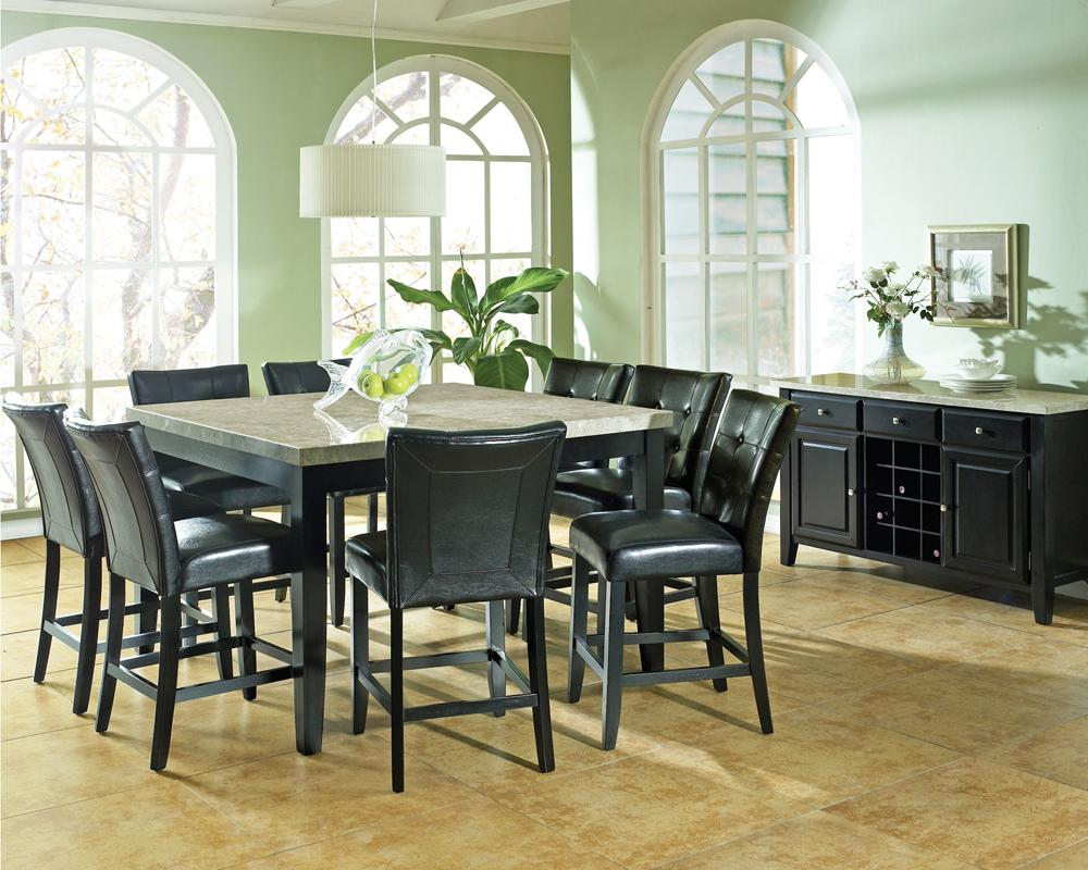Steve Silver Monarch 9 Pc. Marble Veneer Top Counter Height Leg Table,  Parson Stools   Wayside Furniture   Pub Table And Stool Sets