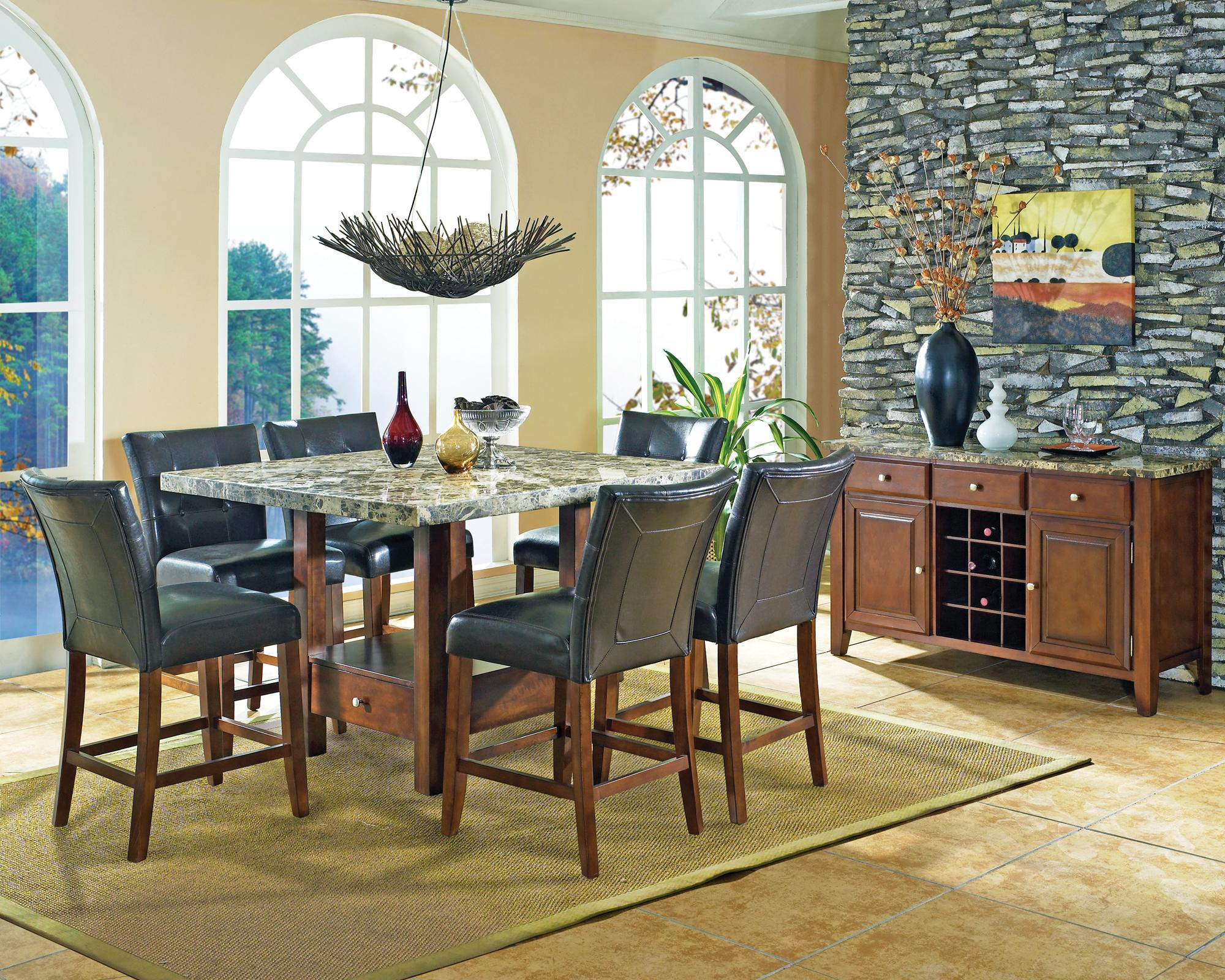 Steve Silver Montibello Transitional Counter Height Marble Veneer Top Dining  Table   Wayside Furniture   Pub Table