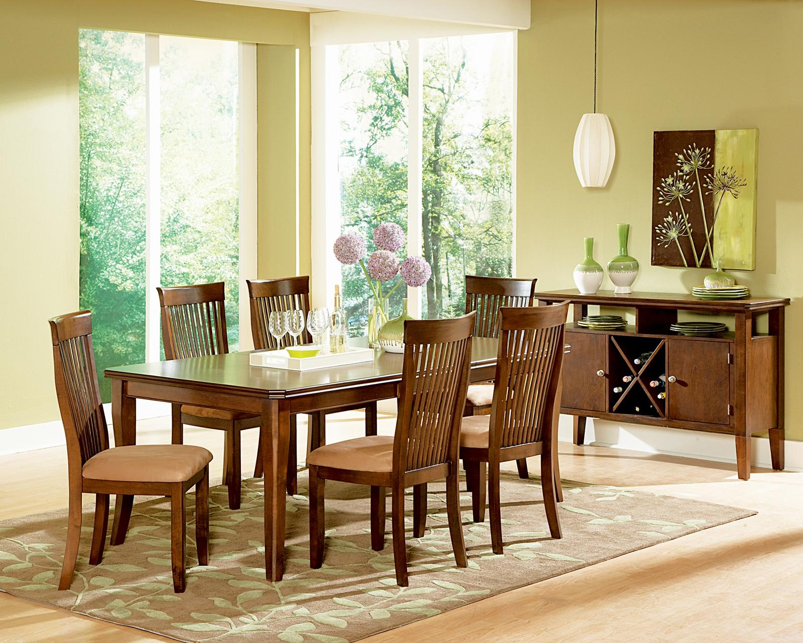 Steve Silver Montreal 7 Piece Transitional Brown Dining Table U0026 Side Chair  Set   Wayside Furniture   Dining 7 (or More) Piece Sets