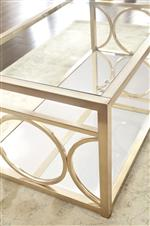 Features circular lattice in a glam Gold Chrome finish