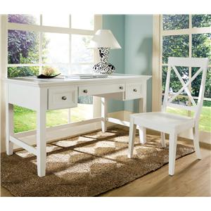 Morris Home Furnishings Oslo Transitional 2-Drawer Writing Desk with Keyboard Tray