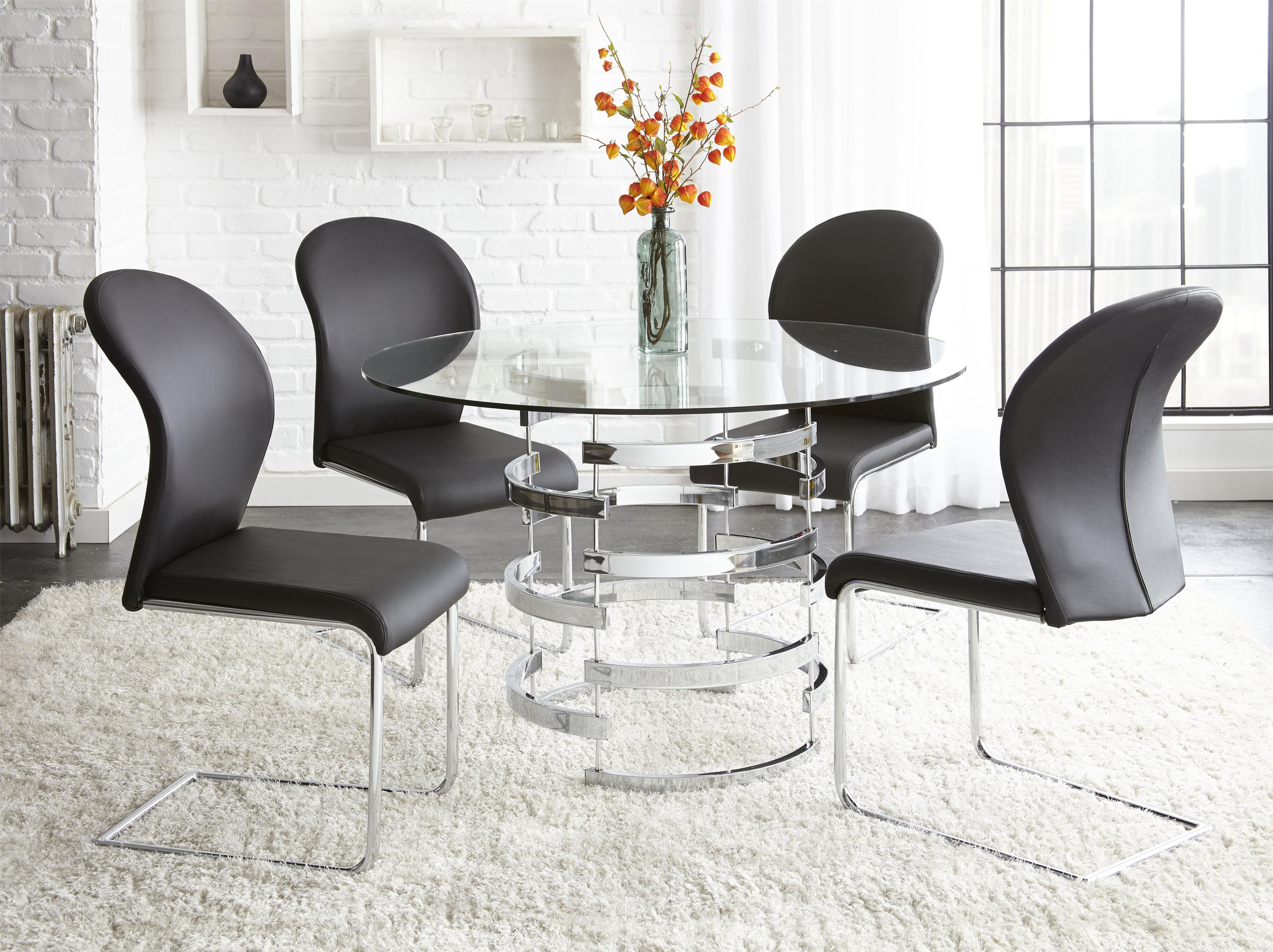 Steve Silver Tayside 5 Piece Dining Table Set - Item Number TS450T+B+ & Steve Silver Tayside 5 Piece Round Glass Table Set with Chrome ...