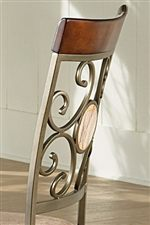 Wooden Panel, Metal and Glass Suncatcher Chair Backs
