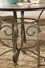 Metal Single Pedestal Table Base with Scroll Detailing