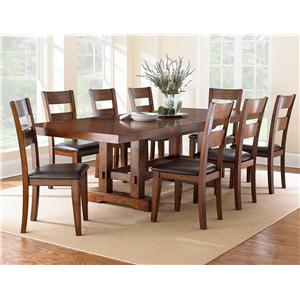 Morris Home Furnishings Zappa Trestle Dining Table with 2 Leaves