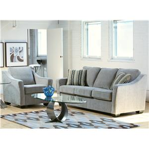 Stylus Zeal Contemporary Sofa With Flared Track Arms In Modern