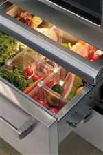 Vegetables Stay Fresher Longer with a Touch-and-Glide Crisper Drawer and Tight-Seal Glass Lid