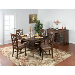 Sunny Designs Savannah Adjustable Height Dining Table w/ 2 Butterfly Leaves