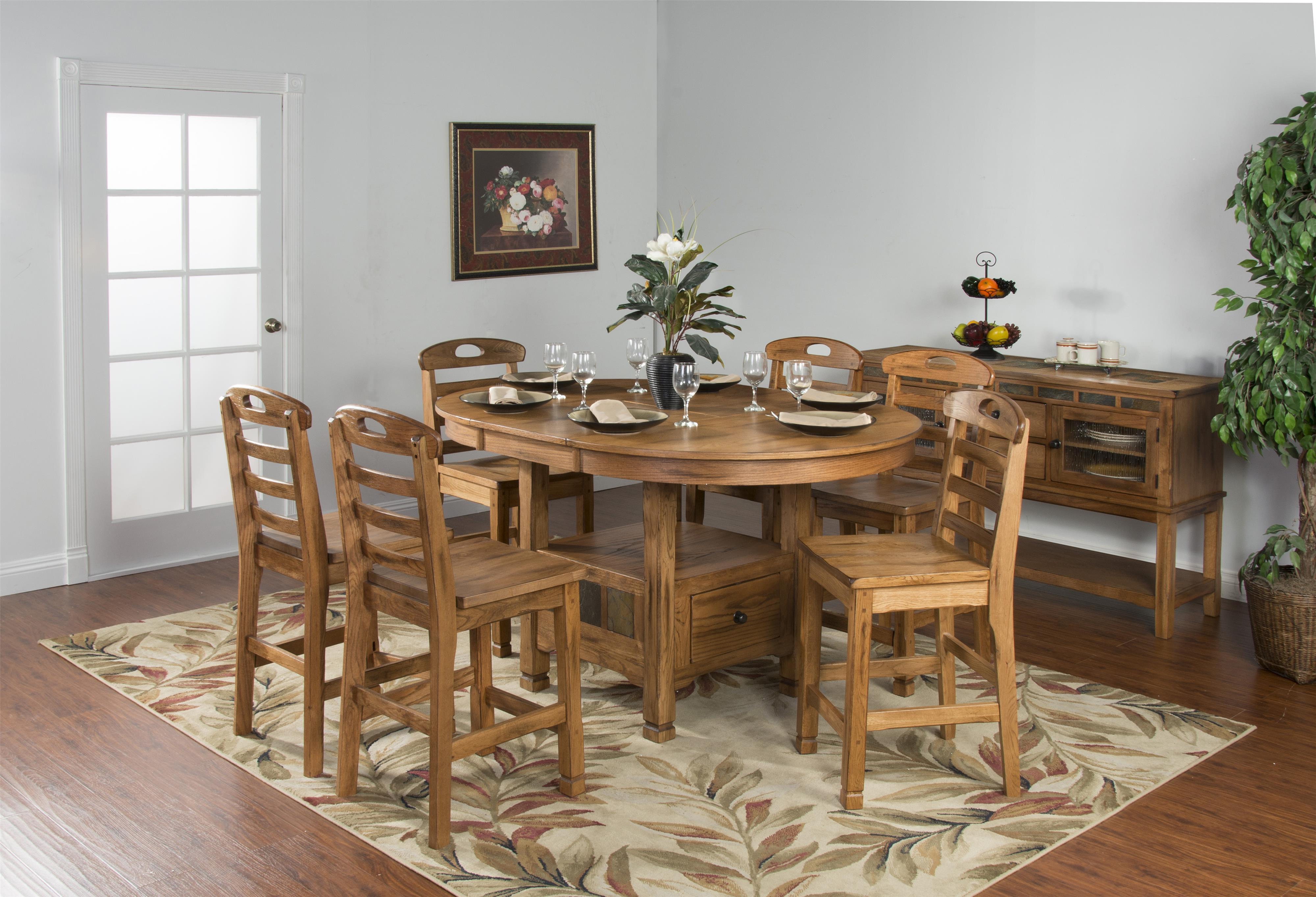 Sunny Designs Sedona End Table w Drawer and Slate Top Wayside