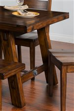 Distressed Mahogany Solids. Turnbuckle Accent on Select Items.