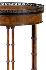 Circular Brass Gallery Table Top above Double Faux Bamboo Legs