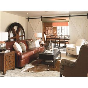 Thomasville® American Anthem Leather Coffee Table w/ Woven Wire Shelf