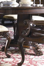 Carved Feet of Double Pedestal Dining Table