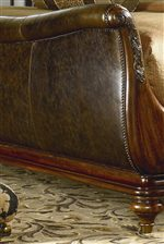 Hand-Antiqued, Unprotected Top-Grain Leather on Sleigh Bed