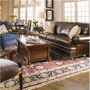 Thomasville® Leather Choices - Ashby Select Leather Sofa with Rolled Arms and Bun Feet