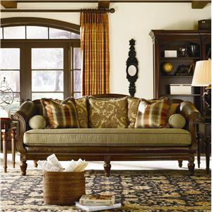 Thomasville® Sorrento  Classic Single-Seat Sofa with Shaped Back and Wood Base