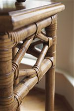 Leather-Wrapped Woven Rattan Adds an Exotic Touch of Texture