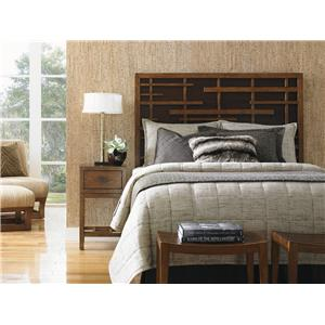 Tommy Bahama Home Island Fusion California King-Sized Shanghai Panel Bed with Pan-Asian Fretwork