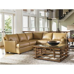 Tommy Bahama Home Island Fusion Osaka Quickship Leather Sofa with Tufted Seat