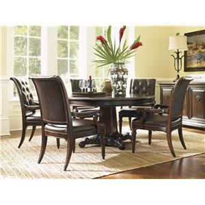 Tommy Bahama Home Island Traditions Traditional Sheffield Rectangular End Table with Glass Top and Fluted Legs