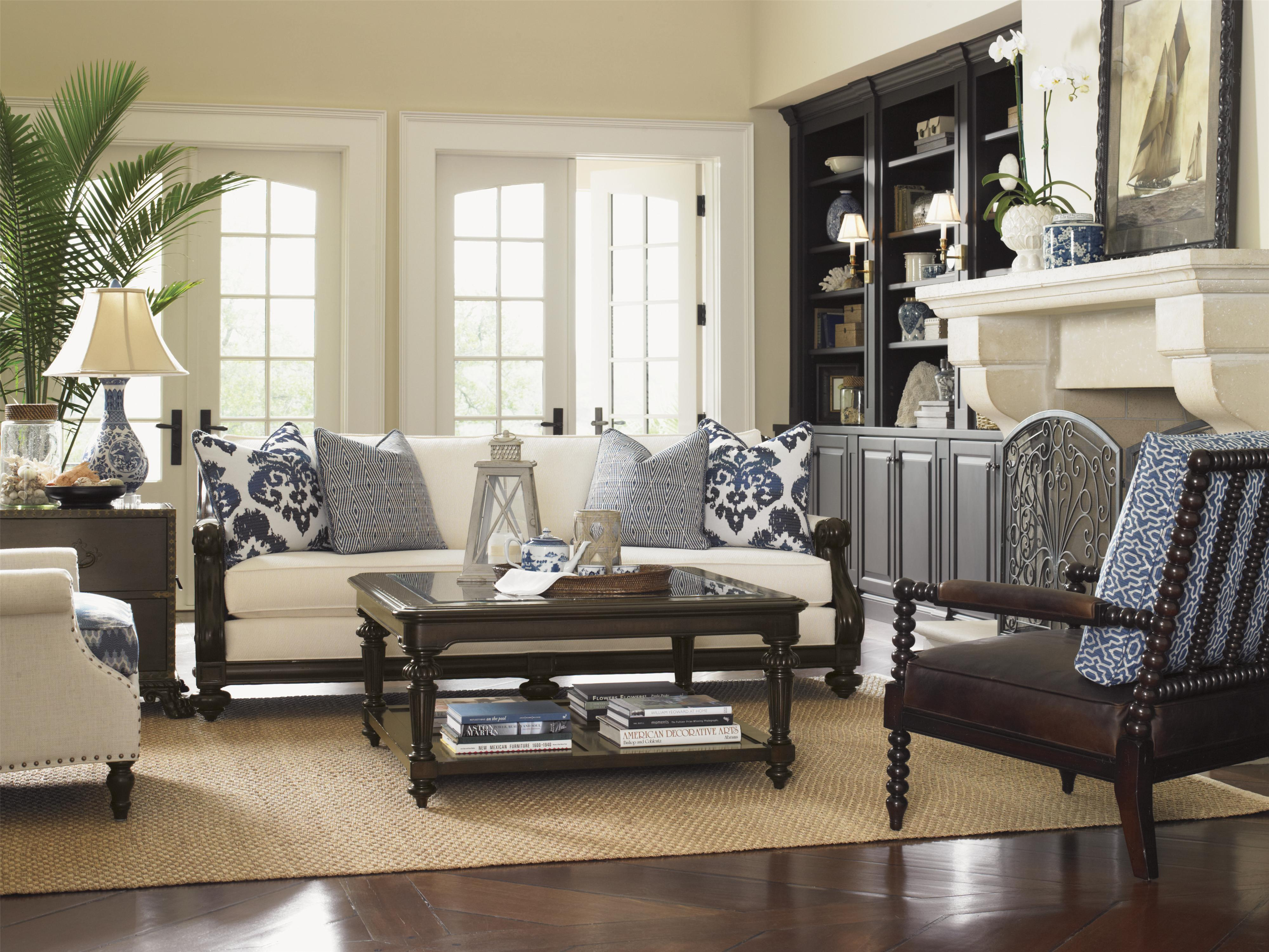 Tommy Bahama Home Island Traditions Queen Amherst Carved Panel Bed With  Turned Posts   Wayside Furniture   Panel Beds