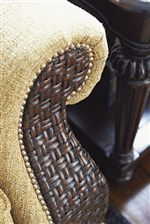 Detail of Woven Rattan on Rolled arm