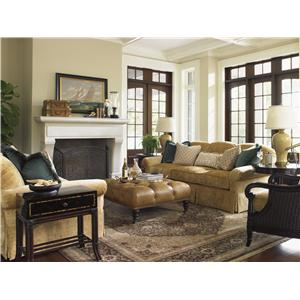 Attirant Tommy Bahama Home Island Traditions Westbury Sectional Sofa With Woven  Rattan Detailing And Classic Turned Feet