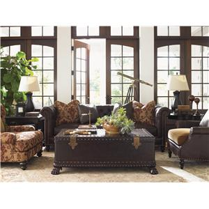 Tommy Bahama Home Island Traditions Traditional Keswick Chair with Carved Wood and Fabric/Leather Blend Upholstery