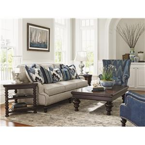 Tommy Bahama Home Kilimanjaro Riversdale Ottoman with Semi-Attached Top